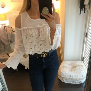 WHITE CROPPED DETAILED SHIRT